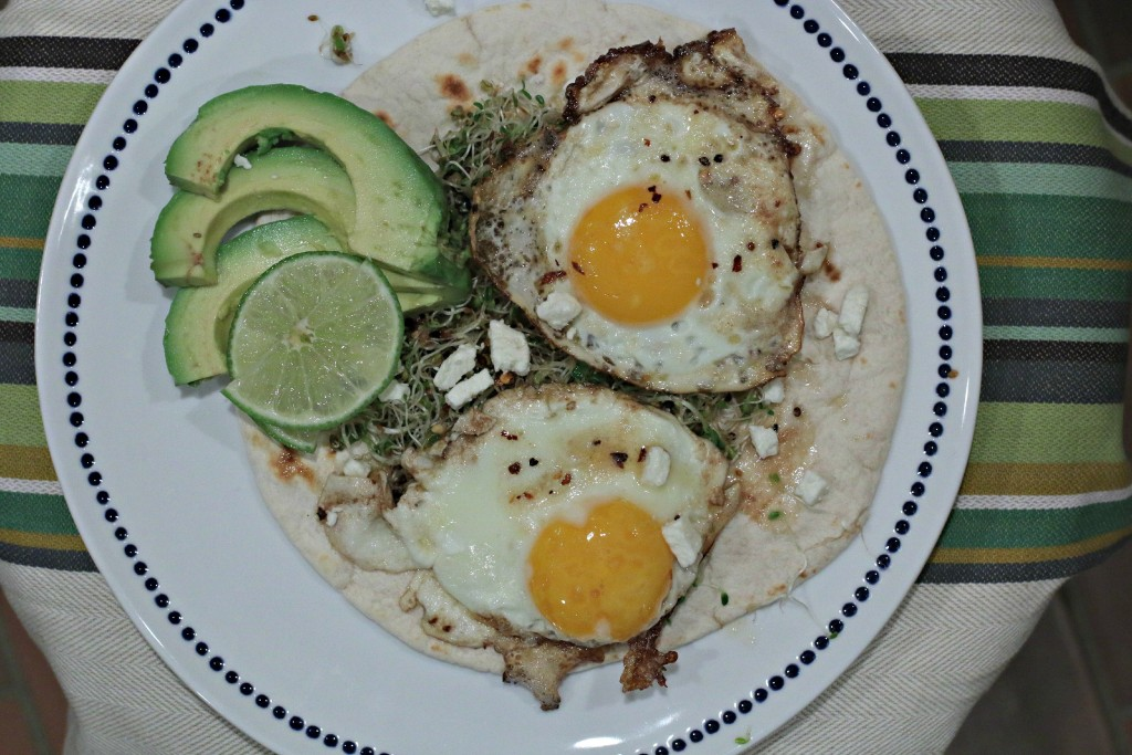Fried Egg with Avocado and Sprouts