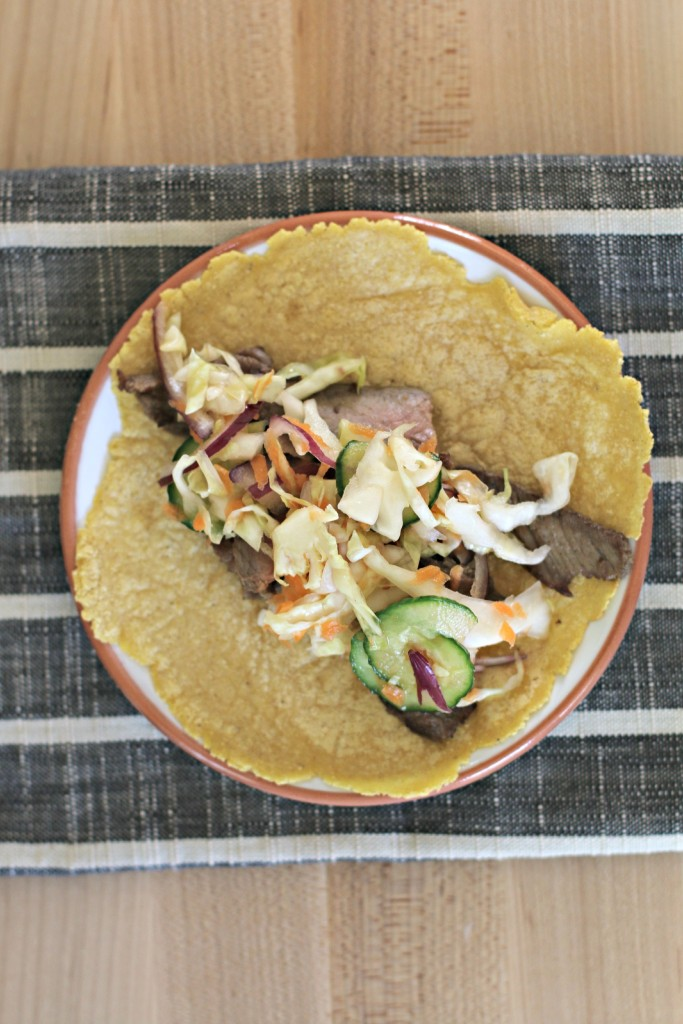 Steak Tacos with Cucumber Slaw